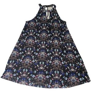 Floral Print High Neck Dress with Keyhole